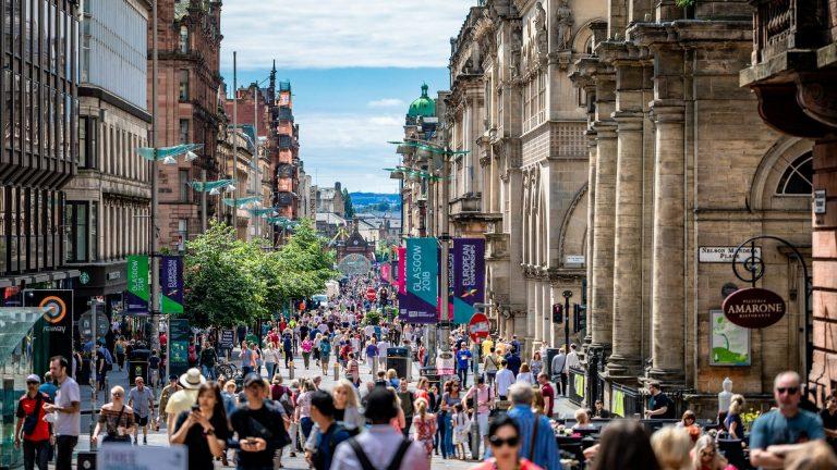 Buchanan Street Glasgow looking busy