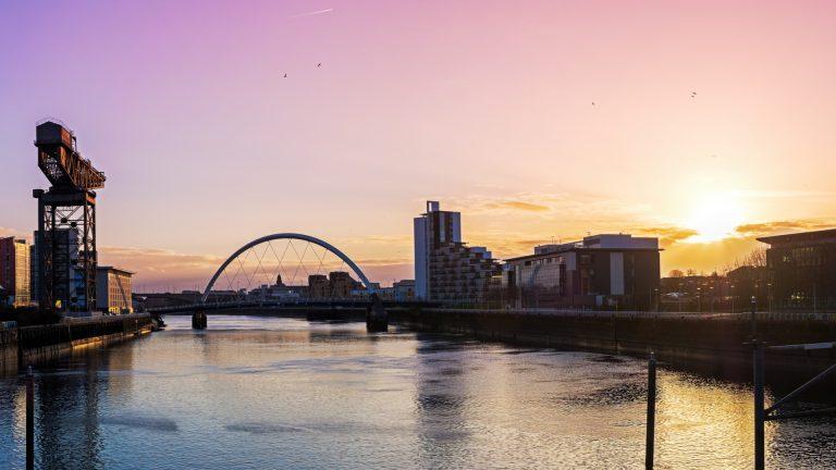 Glasgow Clyde crane in sunset