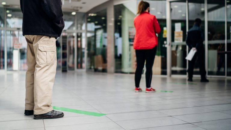Social distancing at a bank