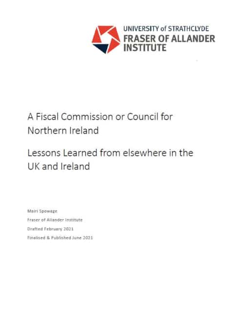 A Fiscal Commission or Council for Northern Ireland report cover